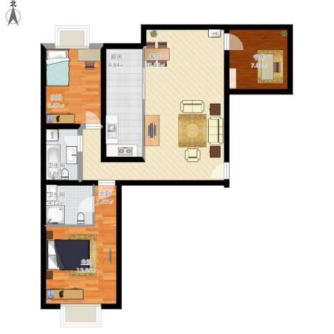 上京新航线2室1厅2卫1厨93.00㎡户型图