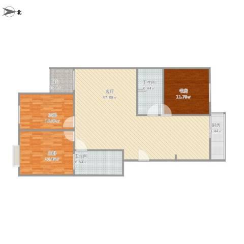 华富家园3室1厅2卫1厨138.00㎡户型图