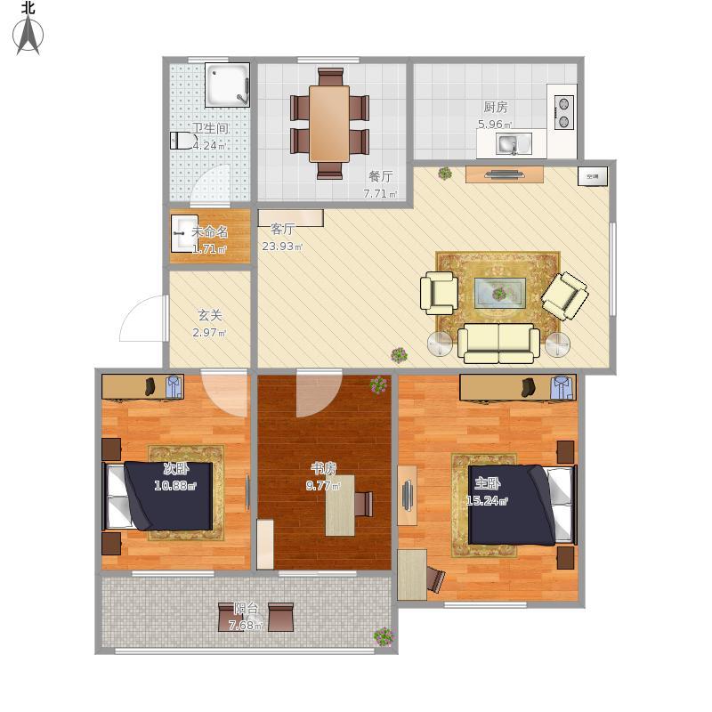 三室两厅一卫,卧室两间书房一间朝阳,东楼头