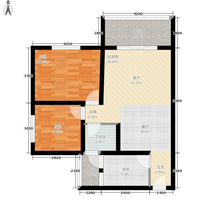 金桥新城74.46㎡一期5号楼4-5单元2、3号房标准层2室户型