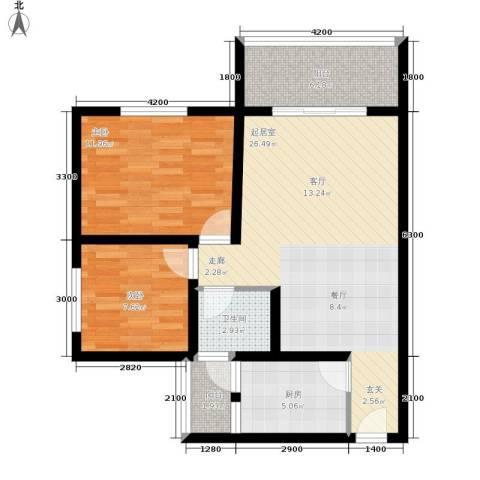 金桥新城2室0厅1卫1厨74.00㎡户型图