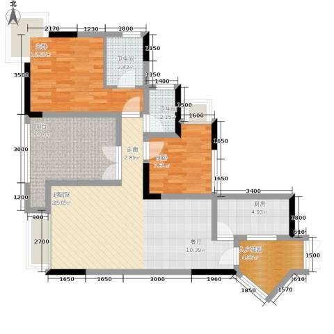 富士达锦绣格林2室0厅2卫1厨78.00㎡户型图