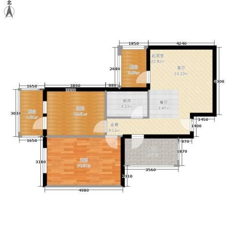 开阳里小区2室0厅0卫1厨74.00㎡户型图