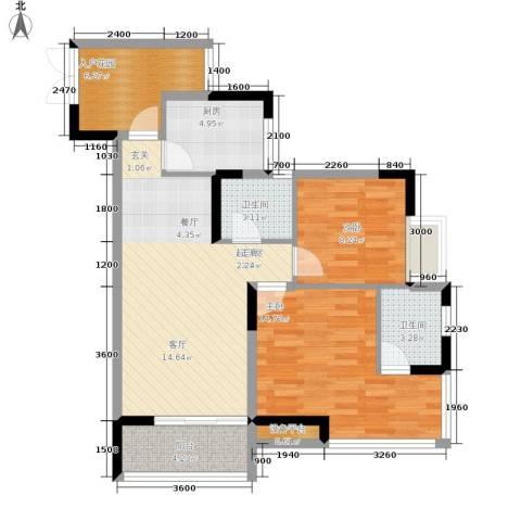 富士达锦绣格林2室0厅2卫1厨68.00㎡户型图