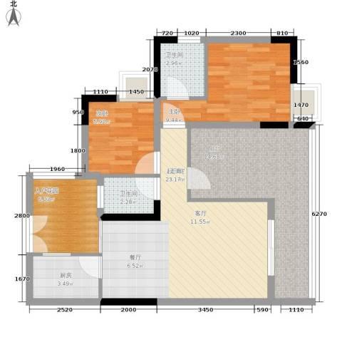 富士达锦绣格林2室0厅2卫1厨76.00㎡户型图