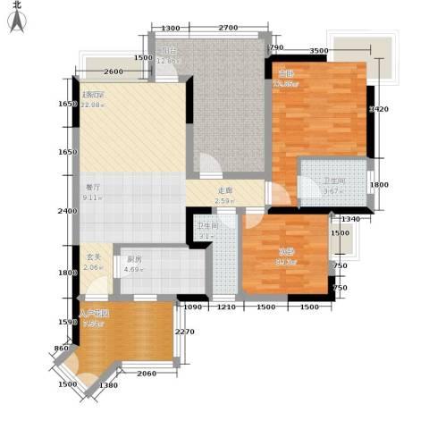 富士达锦绣格林2室0厅2卫1厨76.85㎡户型图