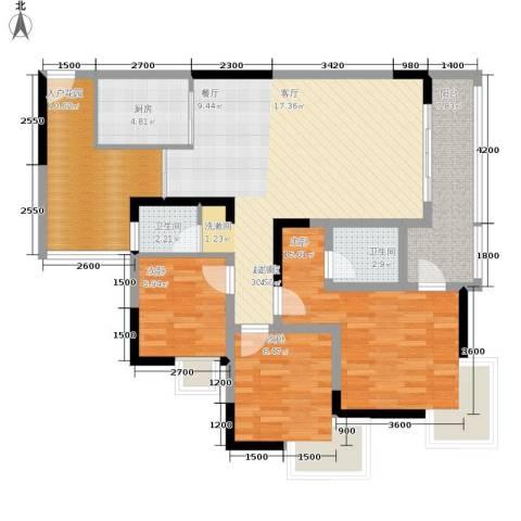 富士达锦绣格林3室0厅2卫1厨94.00㎡户型图