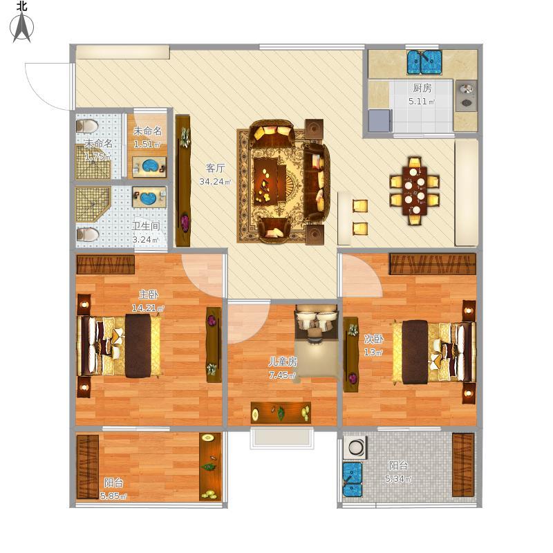 F户型三房两厅两卫