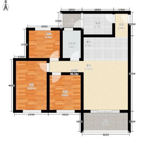 金桥新城3室0厅1卫1厨92.00㎡户型图