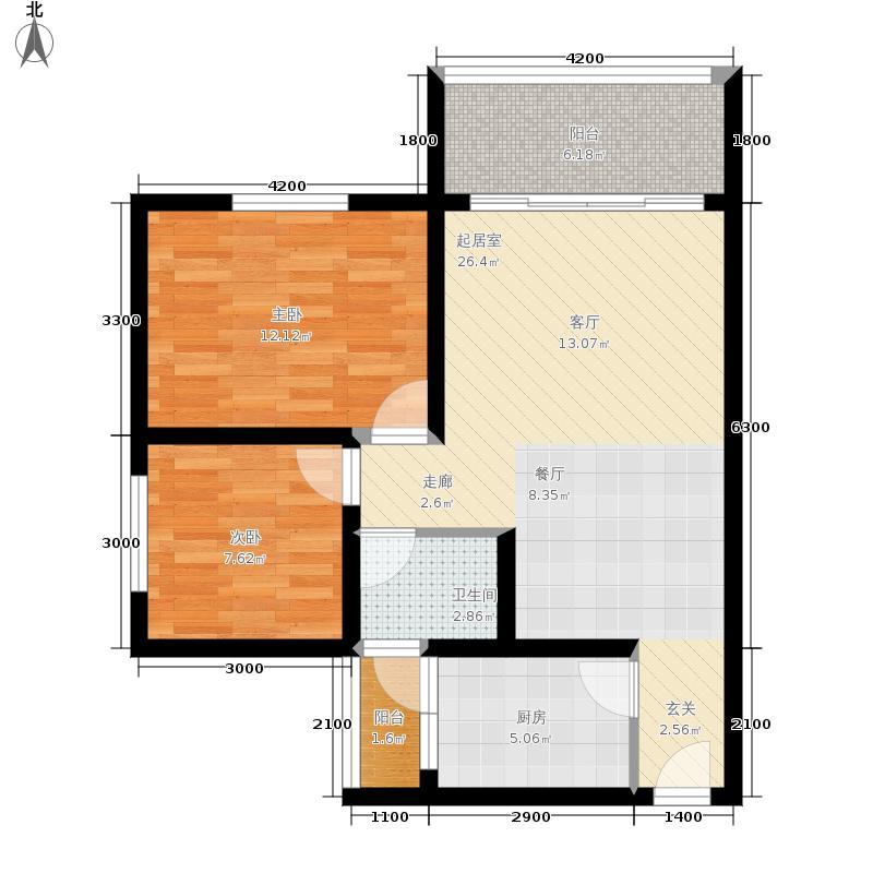 金桥新城74.46㎡一期6号楼1-2单元2、3号房标准层2室户型