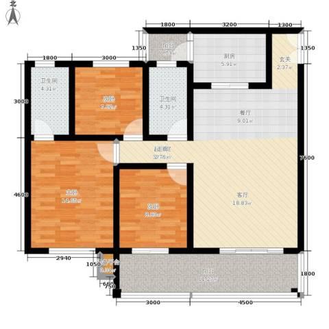 金桥新城3室0厅2卫1厨108.00㎡户型图
