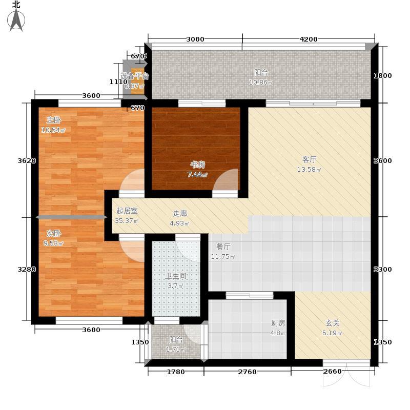 金桥新城97.77㎡一期6号楼3-5单元2、3号房标准层3室户型