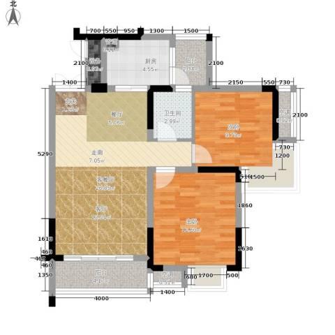 华宇西城丽景2室1厅1卫1厨69.00㎡户型图