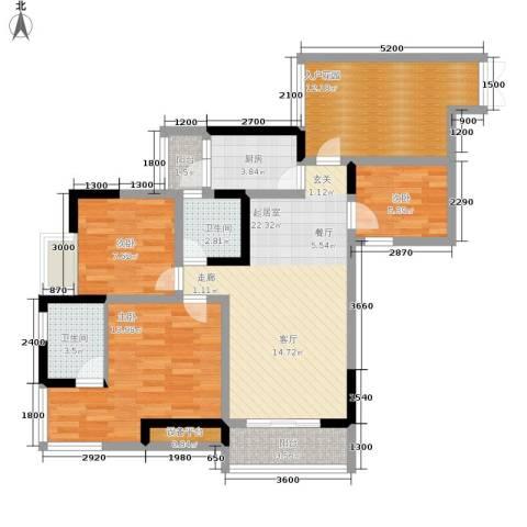 富士达锦绣格林3室0厅2卫1厨77.54㎡户型图