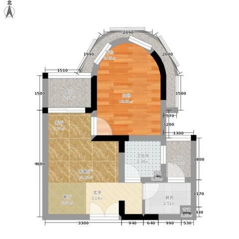 华宇西城丽景1室1厅1卫1厨36.00㎡户型图