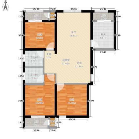 北京御湖湾3室0厅2卫1厨125.00㎡户型图