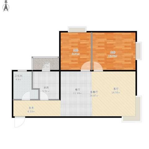 梧杖爱街区(碧桂园二期)2室1厅1卫1厨96.00㎡户型图
