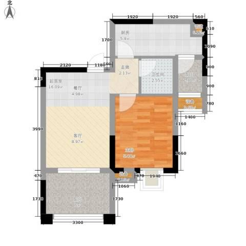 融汇半岛爱窝1室0厅1卫1厨44.00㎡户型图