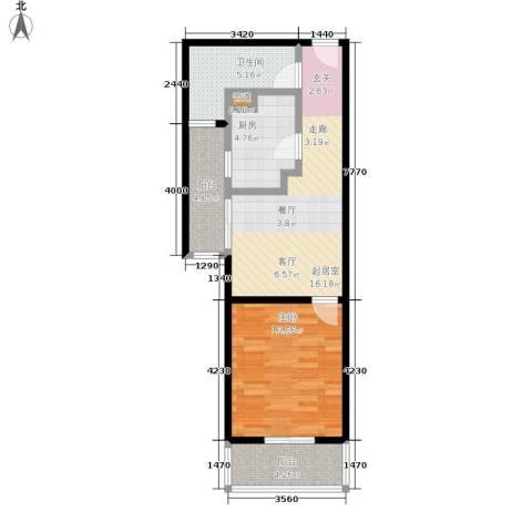 中兴财富国际公寓1室0厅1卫1厨56.32㎡户型图