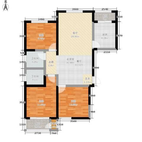 北京御湖湾3室0厅2卫1厨123.00㎡户型图