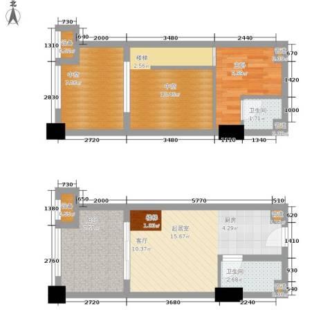 融汇半岛爱窝1室0厅2卫0厨52.98㎡户型图