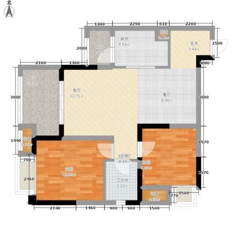 融汇半岛爱窝2室0厅1卫1厨66.00㎡户型图