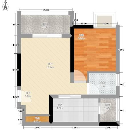 仁有逸景1室1厅1卫1厨56.00㎡户型图