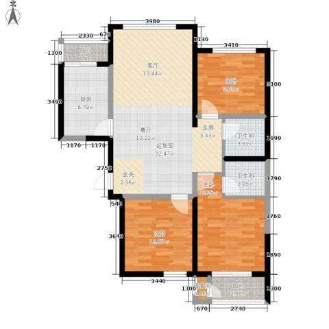 北京御湖湾3室0厅2卫1厨124.00㎡户型图