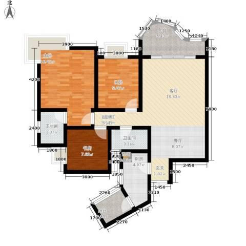 百康年拿铁城3室0厅2卫1厨96.00㎡户型图