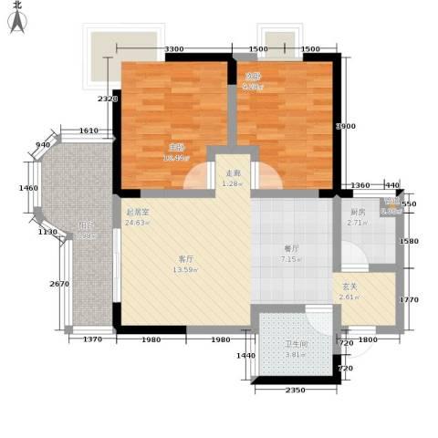 百康年拿铁城2室0厅1卫1厨62.00㎡户型图