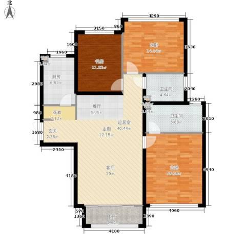 金地经典3室0厅2卫1厨119.00㎡户型图