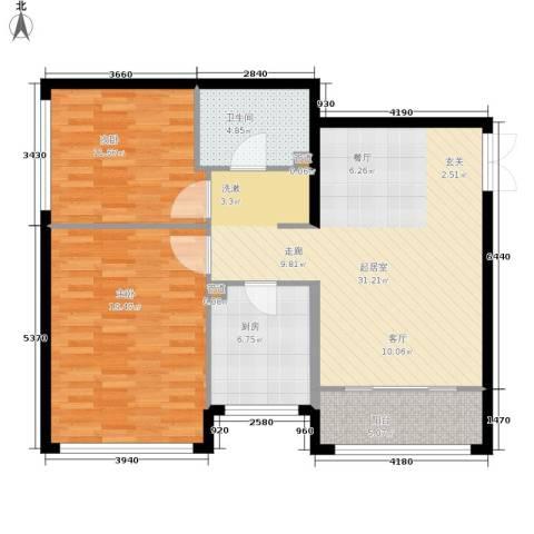 金地经典2室0厅1卫1厨88.00㎡户型图