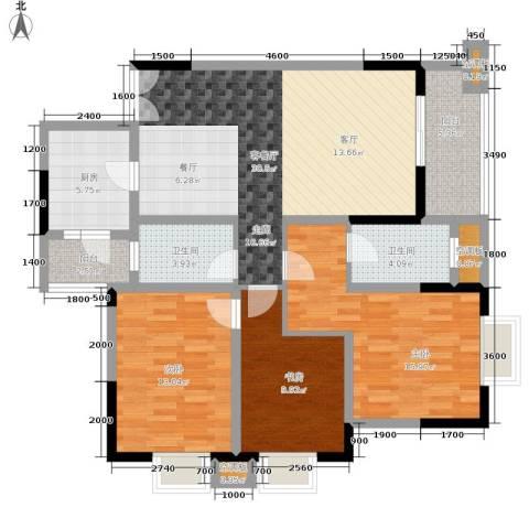 渝兴嘉悦山水3室1厅2卫1厨134.00㎡户型图