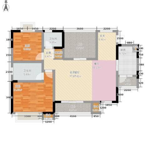 北温泉九号二期森邻海2室0厅2卫1厨107.85㎡户型图