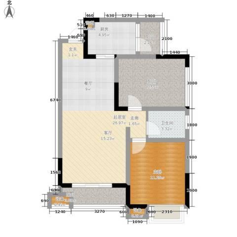 北温泉九号二期森邻海1室0厅1卫1厨74.41㎡户型图