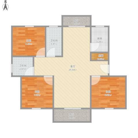金都花好悦园3室1厅2卫1厨89.00㎡户型图