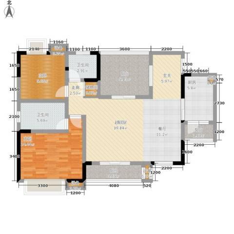 北温泉九号二期森邻海2室0厅2卫1厨107.88㎡户型图