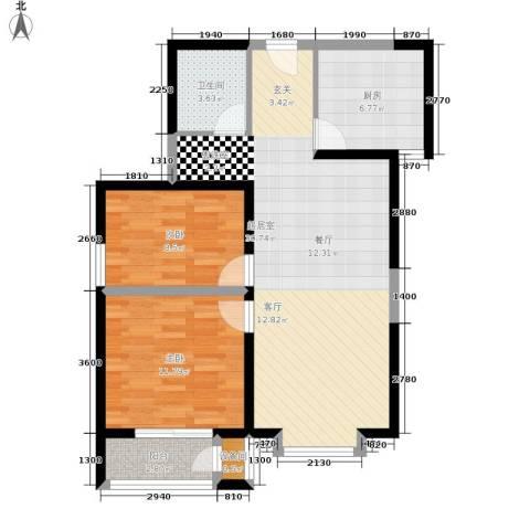 北京御湖湾2室0厅1卫1厨92.00㎡户型图