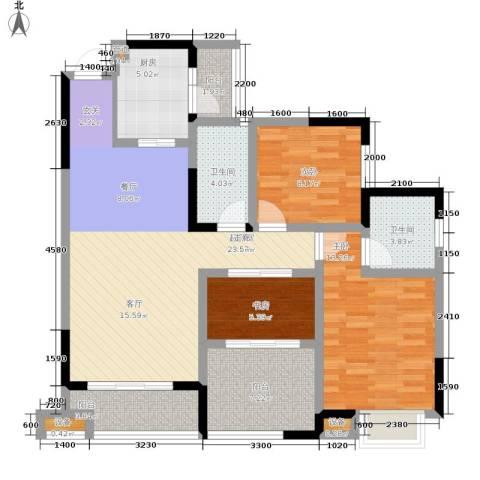 北温泉九号二期森邻海3室0厅2卫1厨98.50㎡户型图