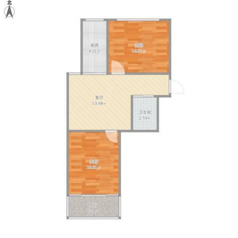 华阳佳园2室1厅1卫1厨61.00㎡户型图