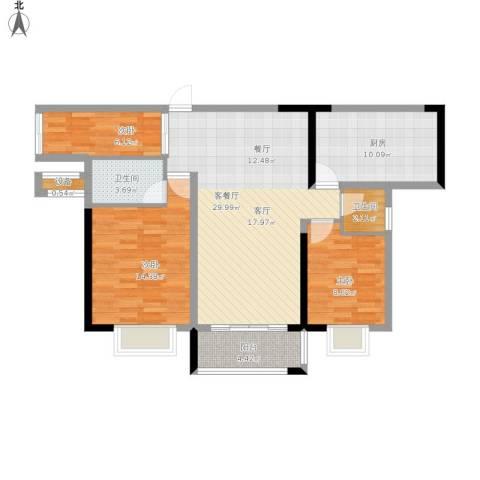 万豪水晶湾3室1厅2卫1厨145.00㎡户型图