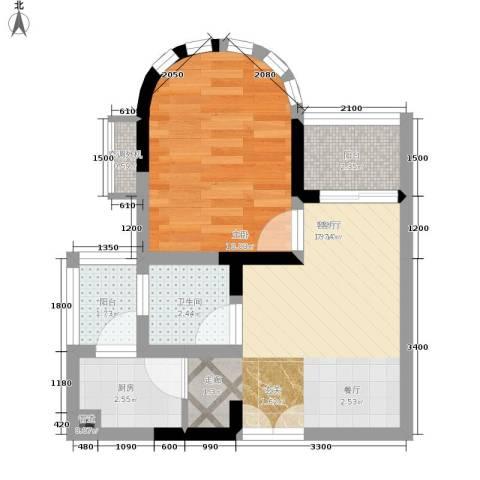 华宇西城丽景1室1厅1卫1厨50.00㎡户型图