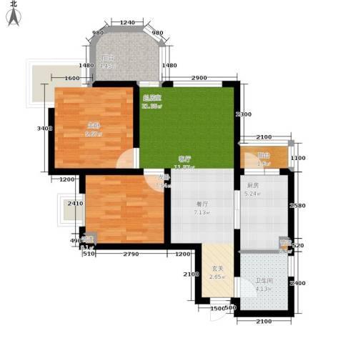 百康年拿铁城2室0厅1卫1厨60.00㎡户型图