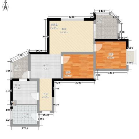 百康年拿铁城2室0厅1卫1厨70.00㎡户型图