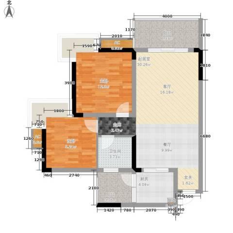 南方花园C区2室0厅1卫1厨103.00㎡户型图