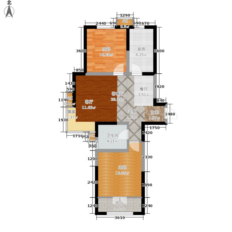 沽上江南91.04㎡三期高层19号楼标准层A户型