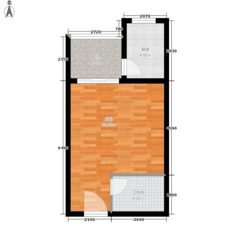 平宇林泉雅舍1室0厅1卫1厨43.00㎡户型图