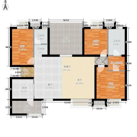 招商江湾城3室1厅2卫1厨133.00㎡户型图