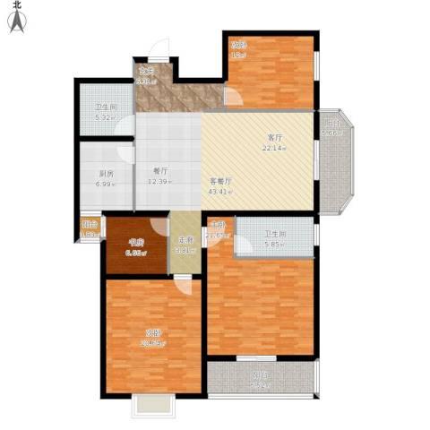 帝豪天成4室1厅2卫1厨190.00㎡户型图