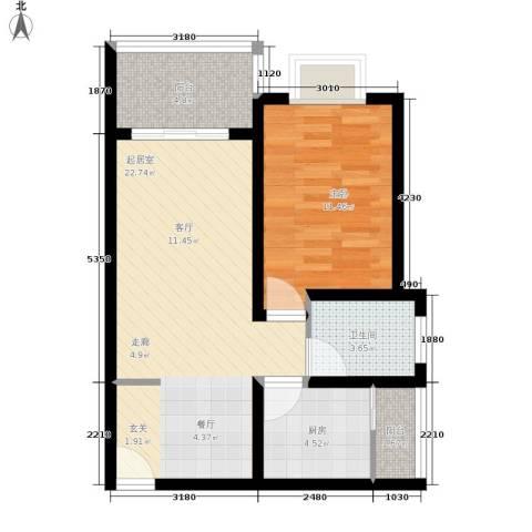 平宇林泉雅舍1室0厅1卫1厨57.00㎡户型图